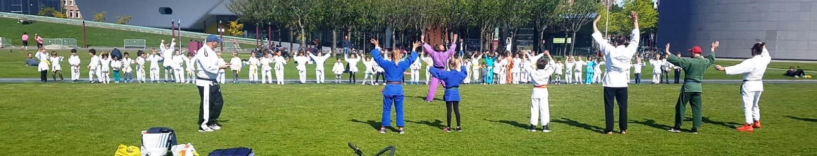 foto van judotraining op het gras van het Museumplein in Amsterdam